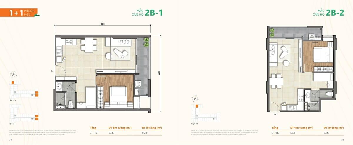 Mẫu căn hộ 2B-1 và 2B-2