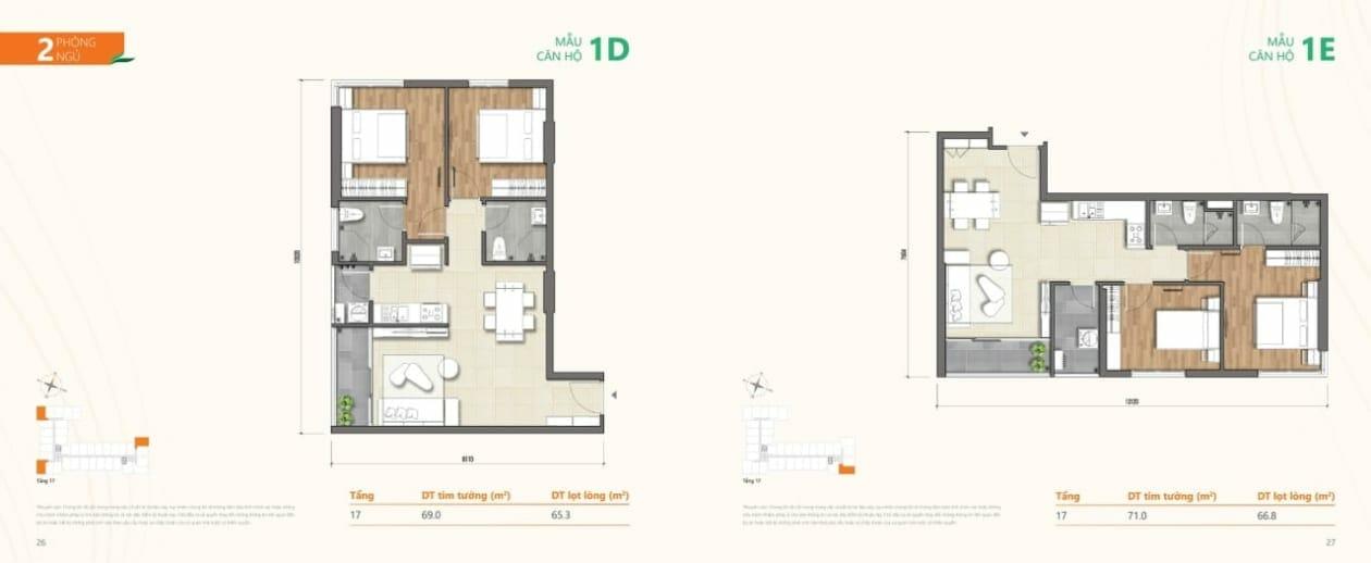 Mẫu căn hộ 1D và 1E