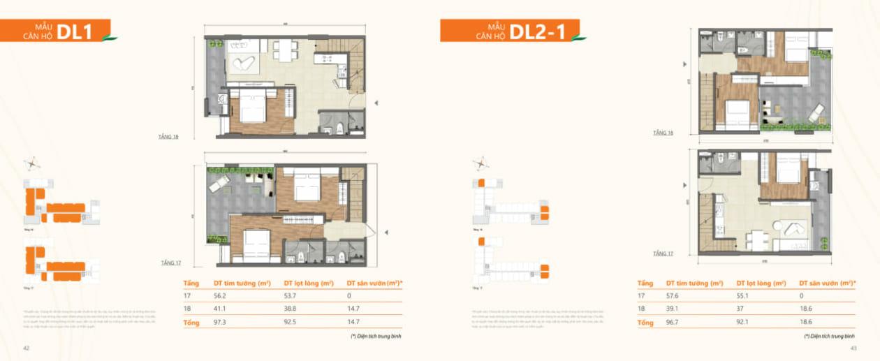 Mẫu căn hộ DL1 và DL2-1