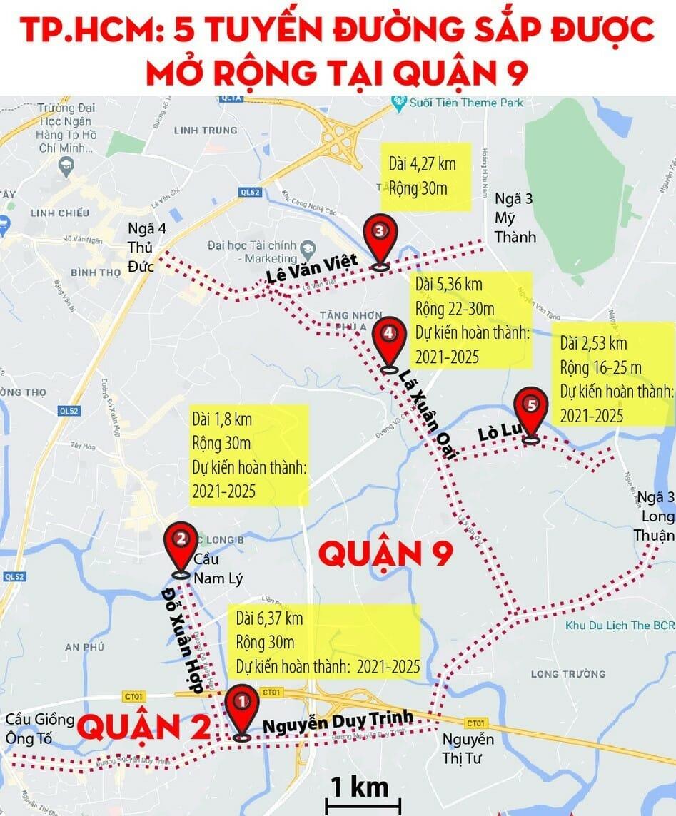 5 tuyến đường sẽ được nâng cấp, mở rộng tại quận 9 trong năm 2021