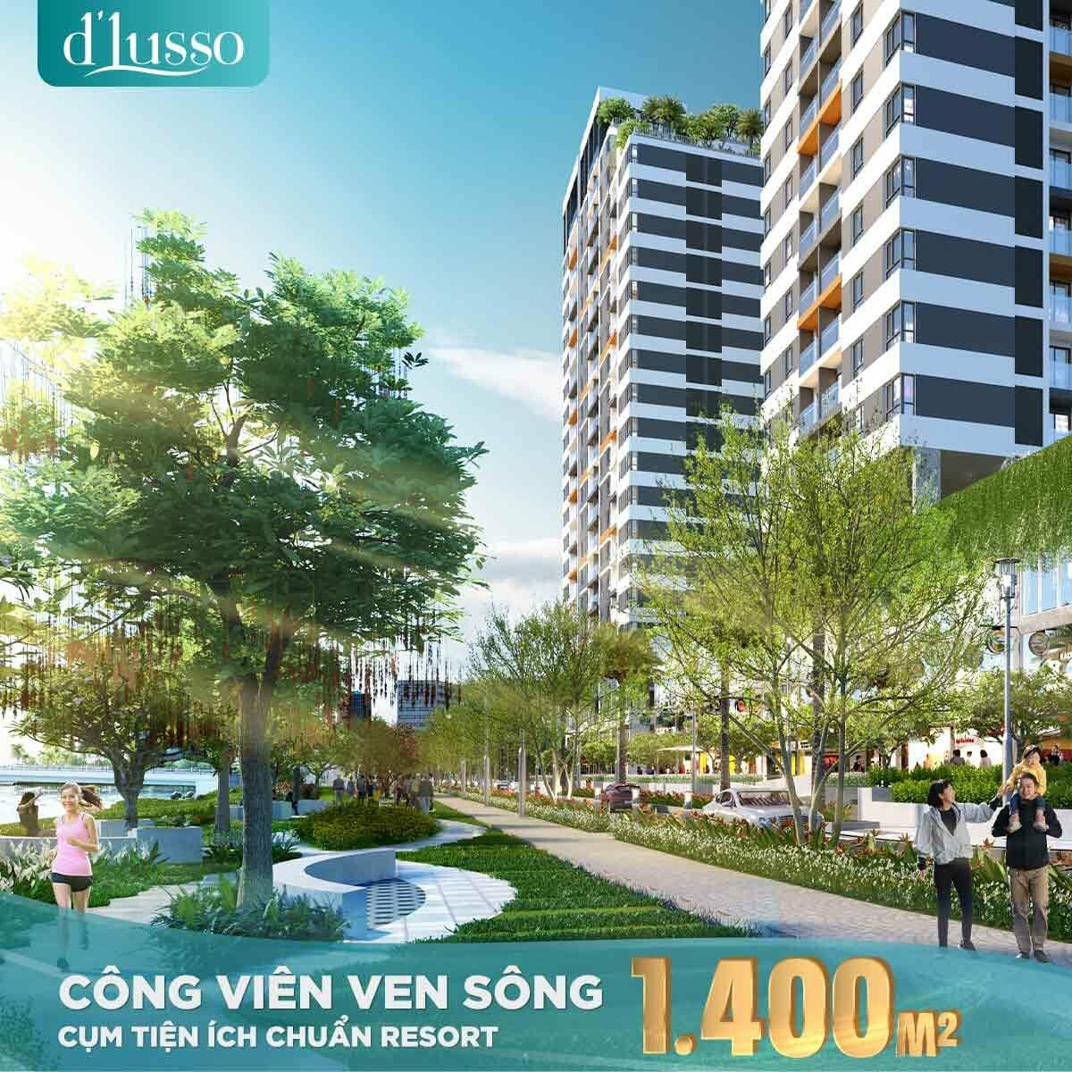 Dự án D'Lusso quận 2 với công vien ven sông rộng 1.400m2