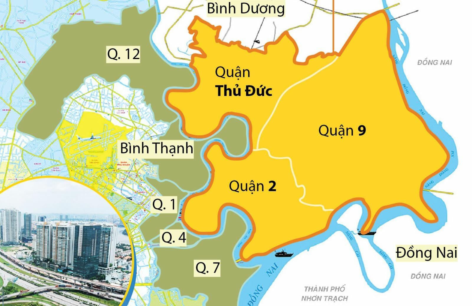 Thành phố Thủ Đức gồm 3 quận sáp nhập, vị trí cửa ngõ trên bản đồ các quận TPHCM