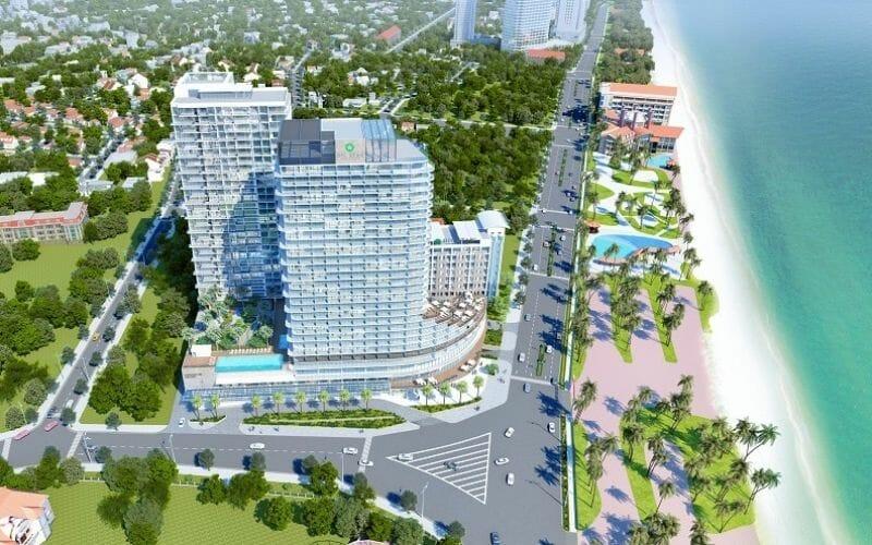 Dự án nằm ngay măt đường giáp với bờ biển, vị trí vàng của bất động sản du lịch