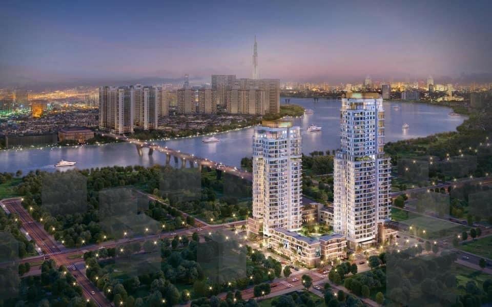 Phối cảnh thiết kế  căn hộ TP Thủ Đức - Thủ Thiêm Zeit River lung linh, huyền ảo khi trời về đêm